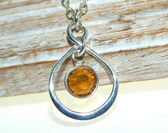November Birthstone Necklace, Personalized infinity necklace, Citrine, November birthstone jewelry, birthday gift