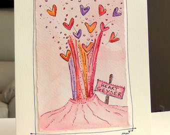 "Heart Geyser  Watercolor Original Strathmore Card 5"""" x 6 7/8"" & Envelope  betrueoriginals"