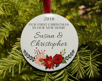 first christmas in our new home christmas ornament personalized with your first names c133