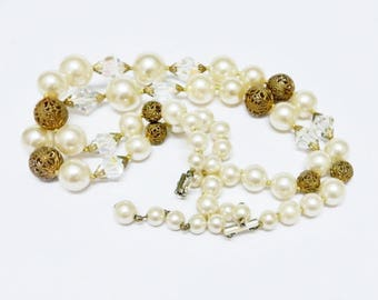 Vintage Pearl Necklace, Multi Strand Pearl and Crystal Necklace, 60's Style Vintage Pearl Necklace