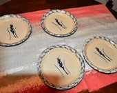Robinson Ransbottom Pottery RRP Roseville Ohio Blue Wheat Sponge Ware Set of 4 Small Plates