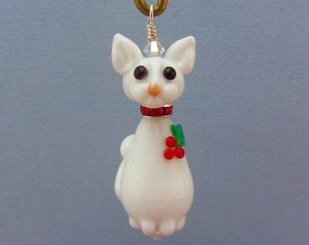 White Cat Ornament - Lampwork Glass Bead SRA