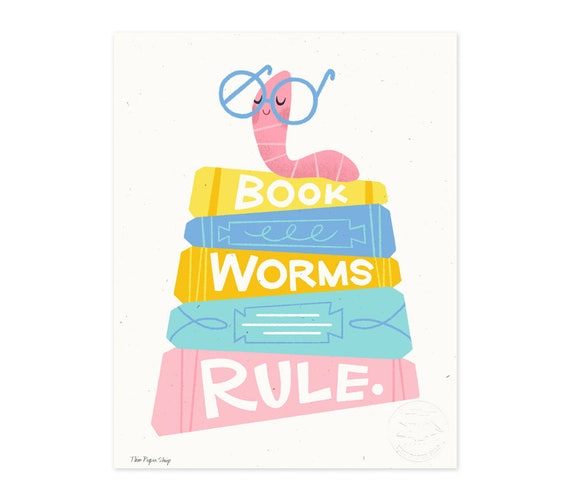 Bookworms Rule Illustrated Art Print