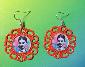 Frida KAHLO colorful unique earrings day of the dead dia de los muertos Mexico folk altered art one of a kind collectible