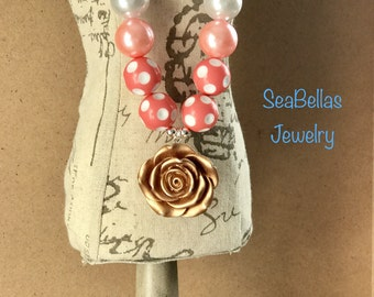 Coral Pink white pearl polka dot chunky necklace silver plated photoshoots birthdays little girls necklace
