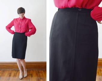 Black 1950s Pendleton Wool Wrap Skirt - XS