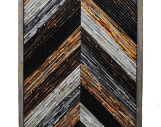 Featured listing image: large Recycled Magazine wall art- made from recycled magazines & rustic wood frame, modern sculpture, neutral, recycled, chevron, wall art
