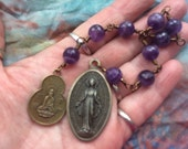Two Mothers-One Heart Chaplet in Faceted Amethyst and Antiqued Brass