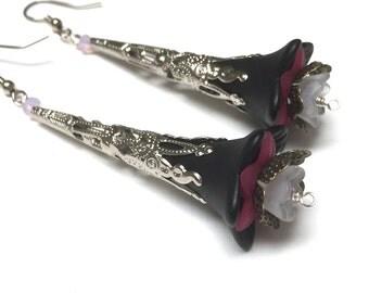 Victorian Filigree Flower Earrings. Long Drop Earrings. Red. Black. White. Lightweight. Garden. Romantic. Fairy. Be Mine. Handmade Jewelry.