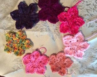 flower,embellishments, crocheted pointed petal flower applique