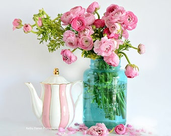 Pink Flower Prints, Pink Ranunculus, Pink Floral Prints, Shabby Chic Decor, Pink Ranunculus Peonies Roses In Mason Jars, Shabby Chic Flowers