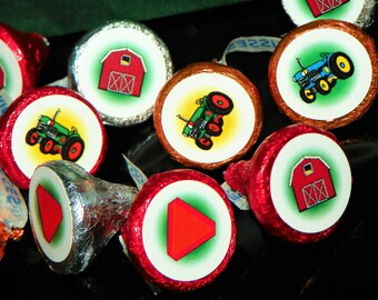 Tractor Birthday Party Hershey Kisses Stickers. Farm Themed Party Favors. Tractor Stickers. Kisses Stickers. Tractor Labels. Farm Tractor