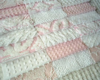 Vintage Chenille Bedspread Squares - Pretty Pinks and White-22-6""