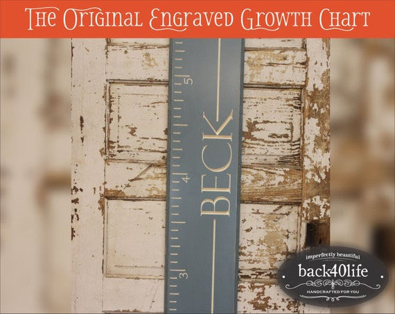 """SALE!! Engraved wood ruler growth height chart (The Stanford) - premium engraved lettering 48"""" (GC-48S) children kid baby nursery"""