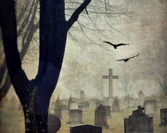 "Cemetery photography surreal graveyard cross dark rustic gothic birds black brown grey  - ""Stone cross"" 8 x 10"