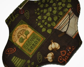 Liner Hemp Core- Garden Seeds Reusable Cloth Mini Pad- 7.5 Inches (19 cm)