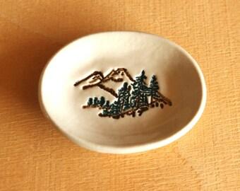 Ceramic MOUNTAIN SCENE Ring Dish - Tiny Handmade Porcelain Mountains Trees Dish - Wedding Ring Dish - Ready To Ship