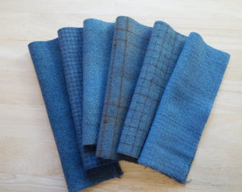 Blue-Grey - Hand Dyed Felted Wool Fabrics Perfect for Rug Hooking and Applique