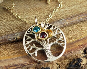 Gold Family Tree Necklace, Mother's Necklace, Grandmother Jewelry, Birthstone Family Tree Necklace, Tree of Life Jewelry, Gift for Mom