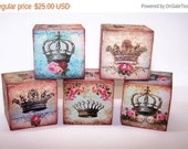 Home & Living, Home Decor, Shabby Chic, Wooden Block, Crowns, Tiara, Princess, Queen, Gifts for Her, Gifts for Him, Rose, Mixed Media, Pink