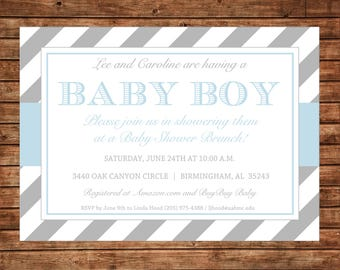 Boy or Girl Stripe Grey Gray Blue Baby Shower Brunch Monogram Party Invitation - DIGITAL FILE