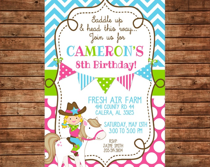 Girl Pony Party Horse Farm Cowgirl Cowboy Petting Zoo Birthday Invitation - DIGITAL FILE