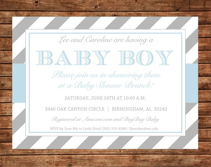 Boy or Girl Invitation Grey Stripe Baby Shower Birthday Party - Can personalize colors /wording - Printable File or Printed Cards