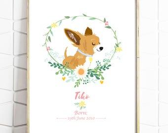Custom Pet Portrait - Personalised Pet Drawing - Dog Illustration - Pug - Pet Birthday - Pet Rememberence - Print or Digital File