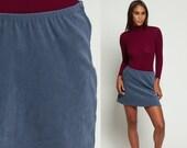 90s Mini Skirt Grunge Grey Blue Pencil 1990s Vintage High Waisted Hipster Wiggle Miniskirt Secretary Plain Nineties Medium