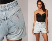 Guess Jean Shorts 80s Denim Shorts High Waisted Rise Blue Stone Wash 1980s Jeans Vintage Medium 29