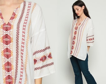 Hippie Shirt Embroidered Top 70s Aztec Mexican Blouse White 1970s Tunic Shirt Tribal Bohemian Vintage Boho Ethnic Guatemalan Red Large