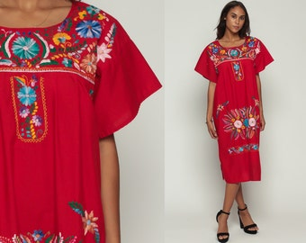 Embroidered Mexican Dress Hippie Boho Midi 80s Ethnic Red Tent Bohemian Floral Cotton Tunic Traditional Cinco De Mayo  Large