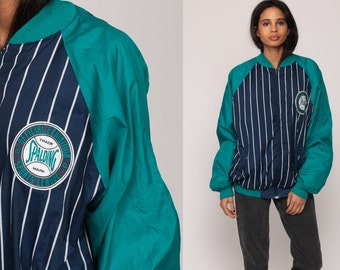 80s Baseball Jacket SPALDING Windbreaker Striped Bomber Retro Track Jacket Blue Preppy Zip Up 1980s Vintage Sports Raglan Sleeve Medium