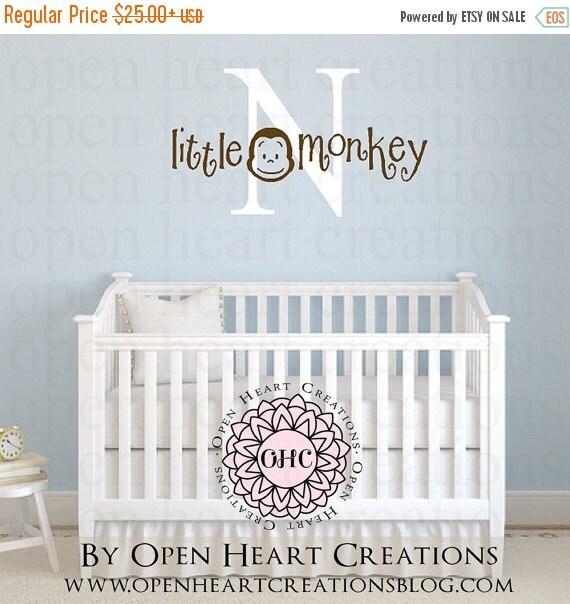 SALE Monkey Vinyl Wall Decal with Initial - Little Monkey Jungle Nursery Baby Children Kid Monogram Wall Decal BA0078