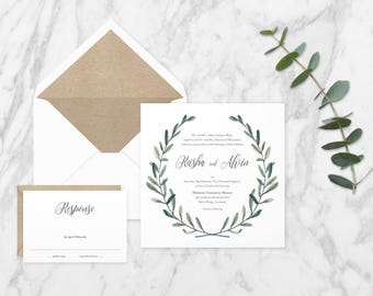 The 'Laurel' Romantic Garden Wreath Wedding Invitation Suite (Sample)