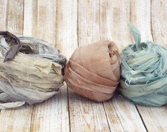 Chiffon Ribbon, Recycled Silk Sari Chiffon Ribbon, Tiebacks, Baby Photography Prop, Wedding Invitations, Bridal Showers, Flowers, Set 4 50yd