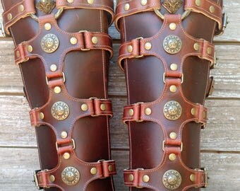 Brown Leather Shin Guards, Shinguards or Gaiters with Antiqued Brass Hardware and Celtic Shields