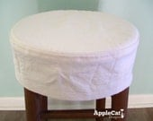 Round Bar Stool Slipcover Topstitched, No Cushion Barstool Cover
