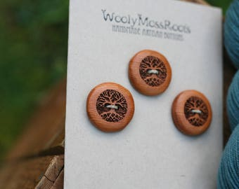 3 Wooden Tree Buttons- Oregon Yew Wood- Wooden Buttons- Eco Craft Supplies, Eco Knitting Supplies, Eco Sewing Supplies