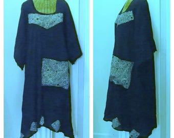 Black Sundress A-Line With Pocket House Dress White Spirals Print Summer Cotton Gauze Medium, Large, 1X, 2X, 3X, 4X Art Wear