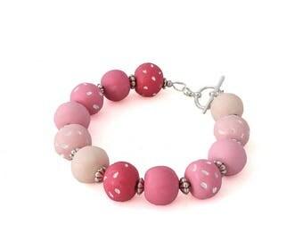 Chunky Bracelet - Pink Bracelet - Beaded Bracelet for Women - Statement Bracelet - Clay Bracelet - Womens Bracelet - Gifts for Her