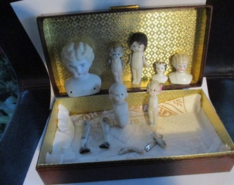 Bisque/Porcelain  Doll Body Parts Lot Vintage Dolls Heads- Arms-Legs- Bodies Head Bust