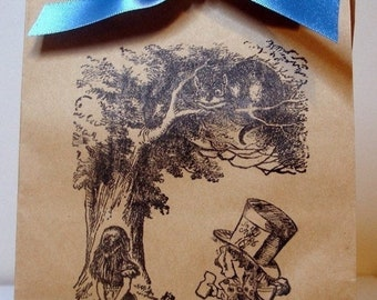For Tiana-100 Alice In Wonderland Kraft Bags with Ribbon