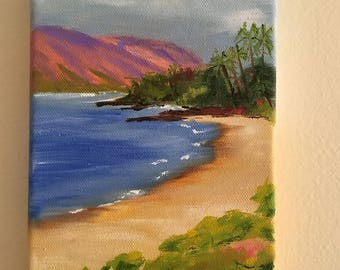 "Kapalua Beach, oil painting, 5"" x 7"" gallery wrapped canvas, Maui collection"