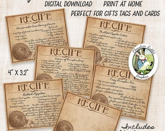 Printable Recipe Cards, Thanksgiving Pumpkin Recipes, Vintage Digital Download, Fall Theme Cards, Digital Gift Tags, Thanksgiving Scrapbook