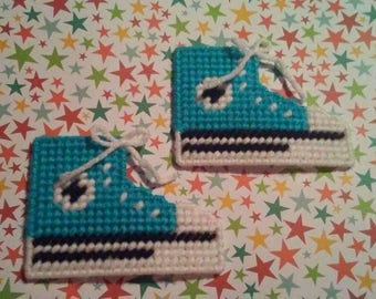 Handmade Turquoise Converse Shoe Magnets Plastic Canvas