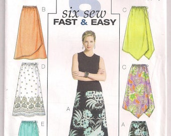 Easy Skirt Pattern Butterick 4803 Front Overlay Uneven Front Hem A line Skirt Above Ankle Length Size 8 10 12 14 Waist 24 - 28