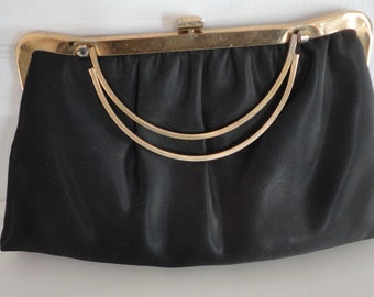60s Black Fabric Evening Purse Made in USA Vintage
