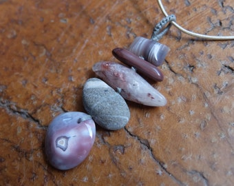 Agate, beach pebbles, Quartz, Jasper pendant necklace -  one of a kind ooak handmade crystal jewelry, gem stone jewellery - pink grey jewlry