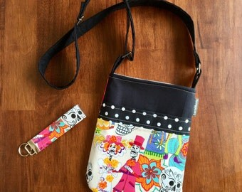 Cross Body Adjustable Strap- Free Keychain - Sugar Skull - Day of the Dead - Ready to Ship